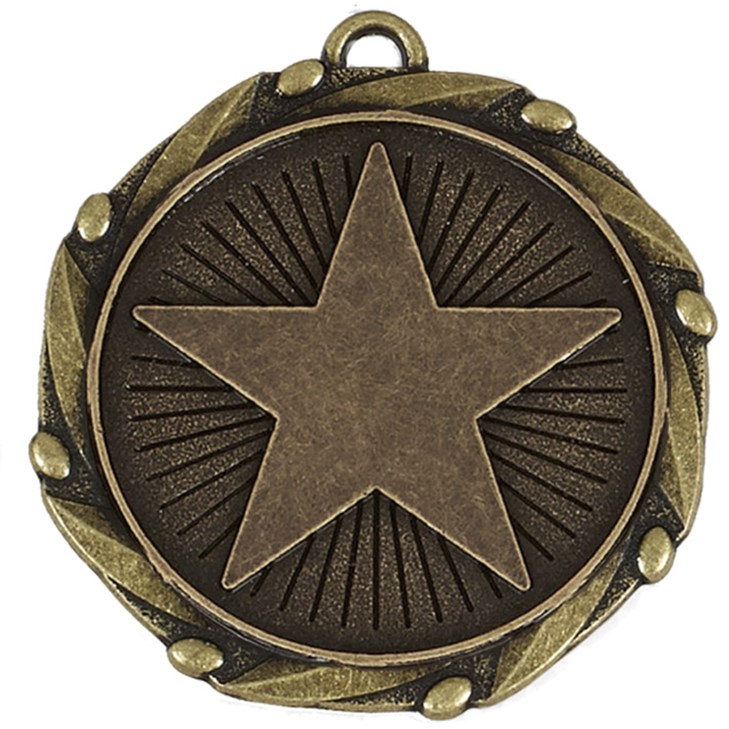 """Gold Star Medal with Red, White & Blue Ribbon 45mm (1.75"""")"""