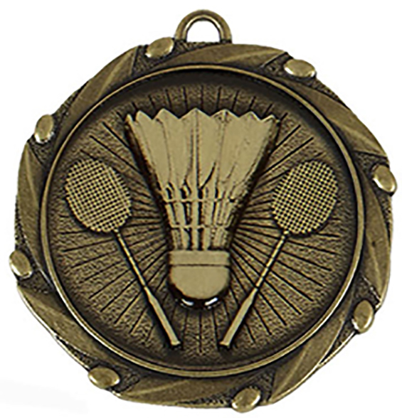 "Gold Badminton Medal with Red, White & Blue Ribbon 45mm (1.75"")"