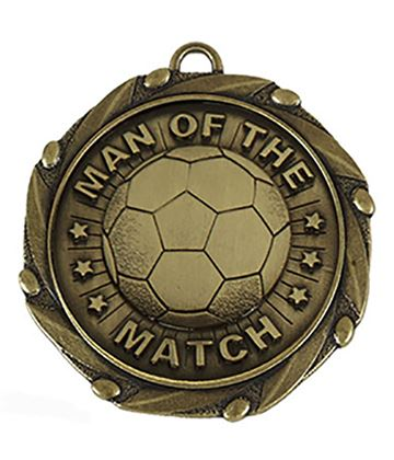 "Gold Man of the Match Medal with Red, White & Blue Ribbon 45mm (1.75"")"