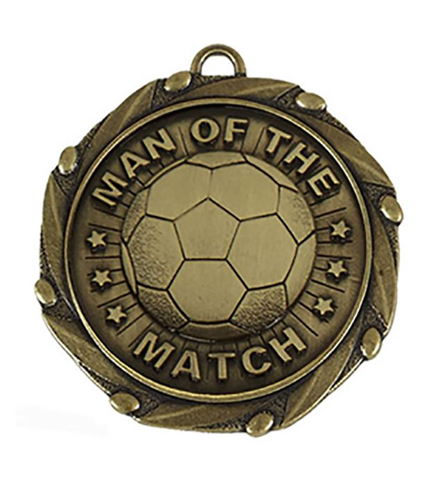"""Gold Man of the Match Medal with Red, White & Blue Ribbon 45mm (1.75"""")"""