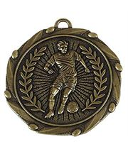 """Gold Footballer Medal with Red, White & Blue Ribbon 45mm (1.75"""")"""