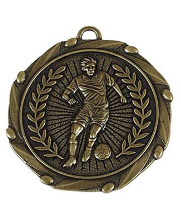 "Gold Footballer Medal with Red, White & Blue Ribbon 45mm (1.75"")"