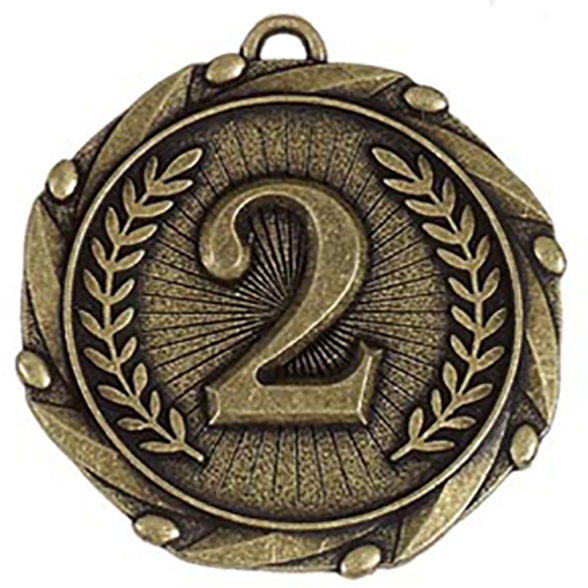 "Gold 2nd Place Medal with Red, White & Blue Ribbon 45mm (1.75"")"