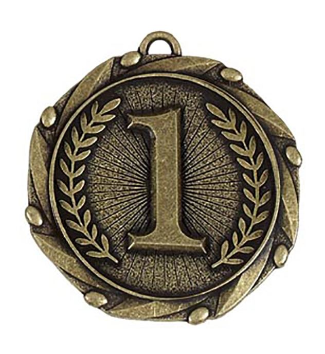 """Gold 1st Place Medal with Red, White & Blue Ribbon 45mm (1.75"""")"""