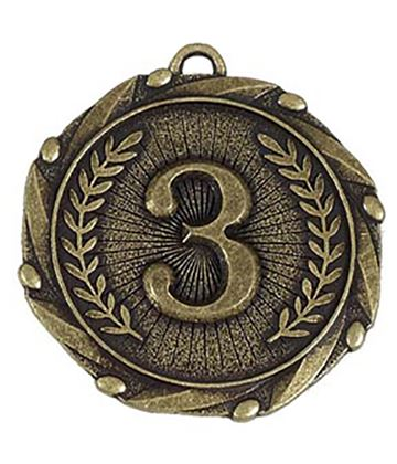 "Gold 3rd Place Medal with Red, White & Blue Ribbon 45mm (1.75"")"