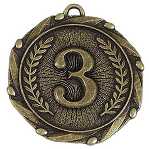 """Gold 3rd Place Medal with Red, White & Blue Ribbon 45mm (1.75"""")"""