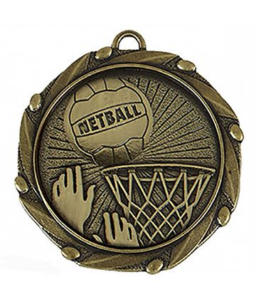 "Gold Netball Medal with Red, White & Blue Ribbon 45mm (1.75"")"