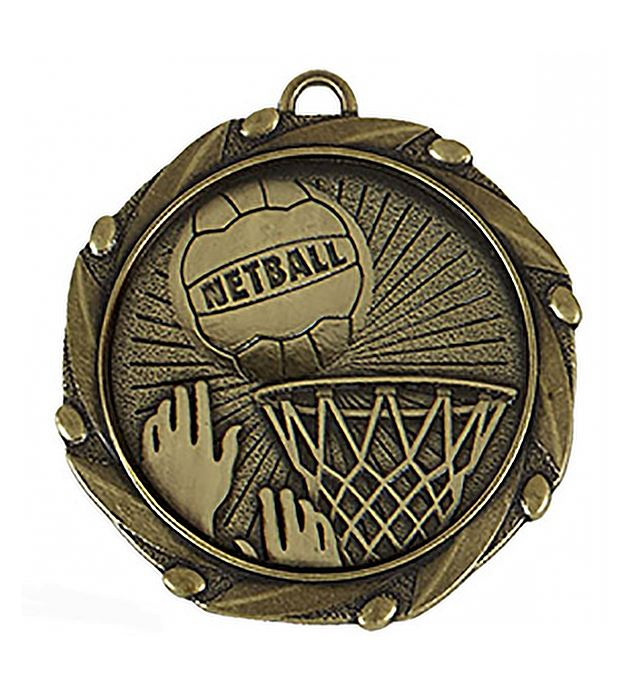 """Gold Netball Medal with Red, White & Blue Ribbon 45mm (1.75"""")"""