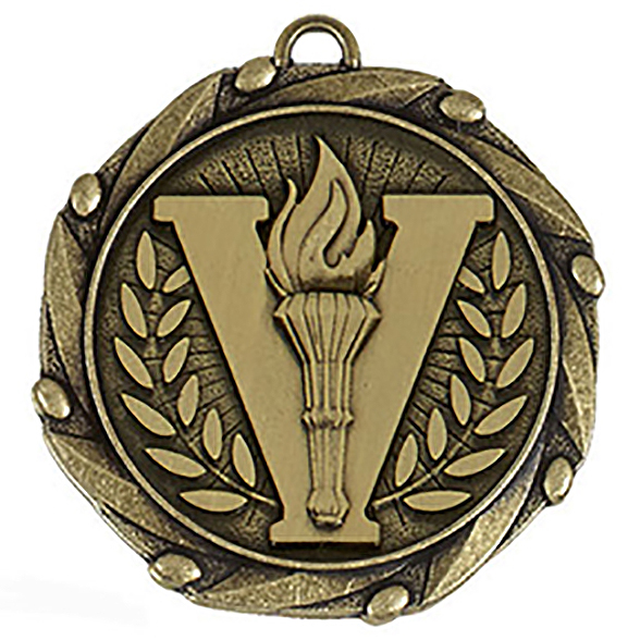 "Gold Victory Medal with Red, White & Blue Ribbon 45mm (1.75"")"