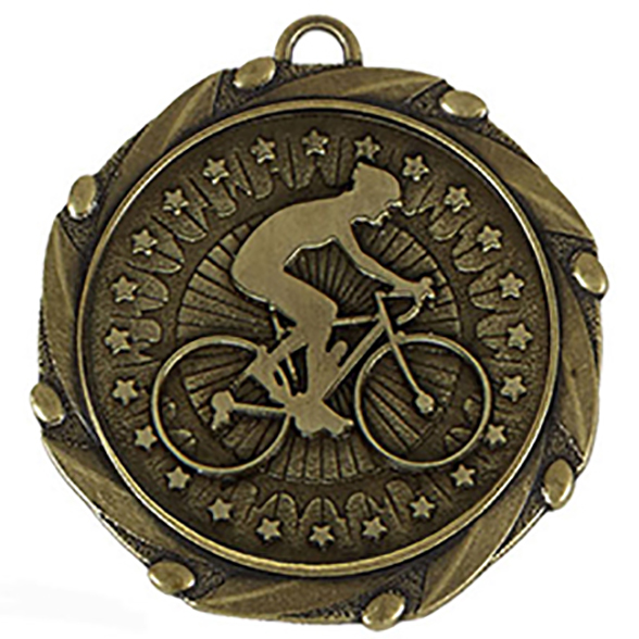 Gold Cycling Medal with Red, White & Blue Ribbon 45mm