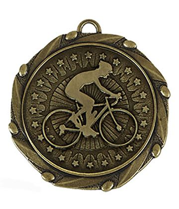 "Gold Cycling Medal with Red, White & Blue Ribbon 45mm (1.75"")"