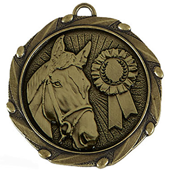 Gold Equestrian Medal with Red, White & Blue Ribbon 45mm