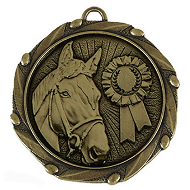 """Gold Equestrian Medal with Red, White & Blue Ribbon 45mm (1.75"""")"""
