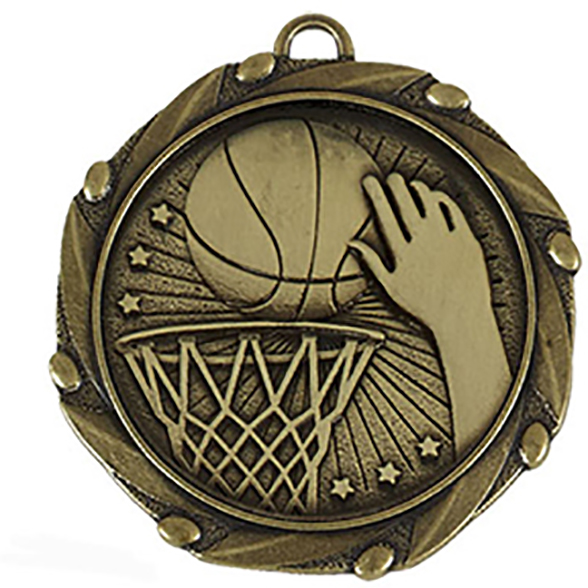 "Gold Basketball Medal with Red, White & Blue Ribbon 45mm (1.75"")"