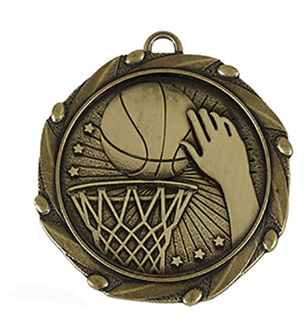 """Gold Basketball Medal with Red, White & Blue Ribbon 45mm (1.75"""")"""