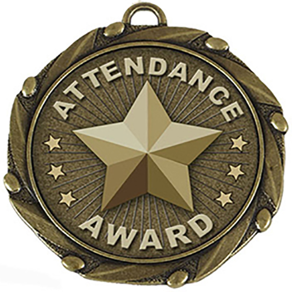 "Gold Attendance Medal with Red, White & Blue Ribbon 45mm (1.75"")"