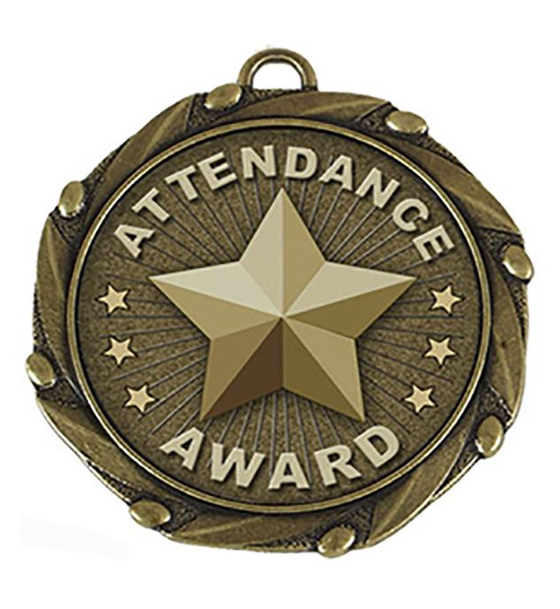 """Gold Attendance Medal with Red, White & Blue Ribbon 45mm (1.75"""")"""