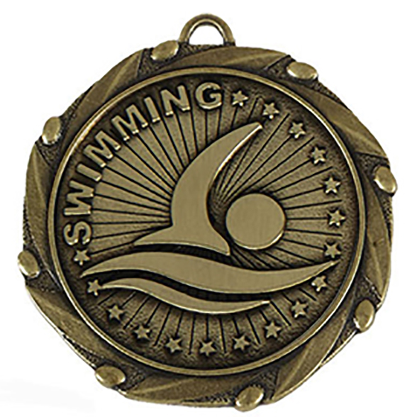 """Gold Swimming Medal with Red, White & Blue Ribbon 45mm (1.75"""")"""