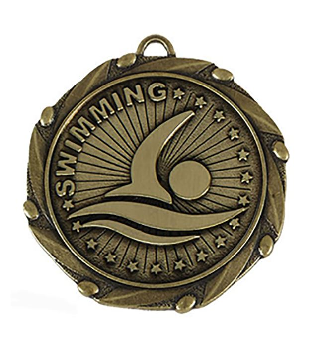 "Gold Swimming Medal with Red, White & Blue Ribbon 45mm (1.75"")"