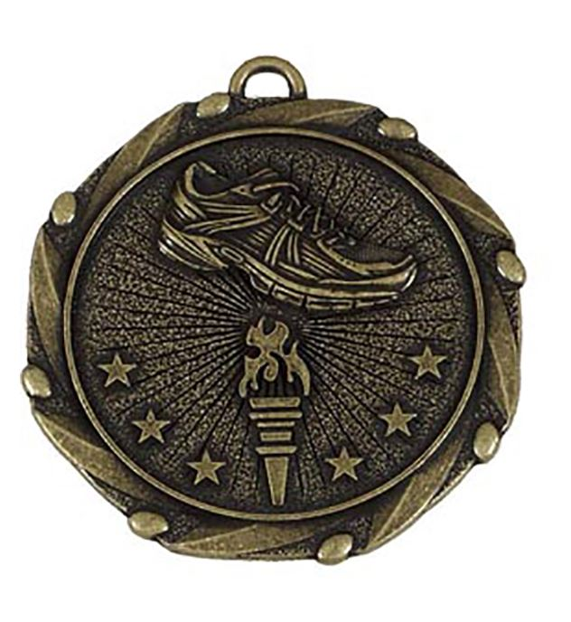 "Gold Running Medal with Red, White & Blue Ribbon 45mm (1.75"")"
