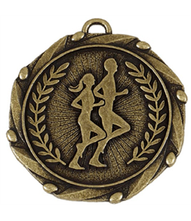 """Gold Runners Medal with Red, White & Blue Ribbon 45mm (1.75"""")"""