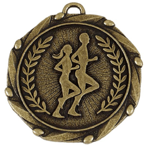 "Gold Runners Medal with Red, White & Blue Ribbon 45mm (1.75"")"