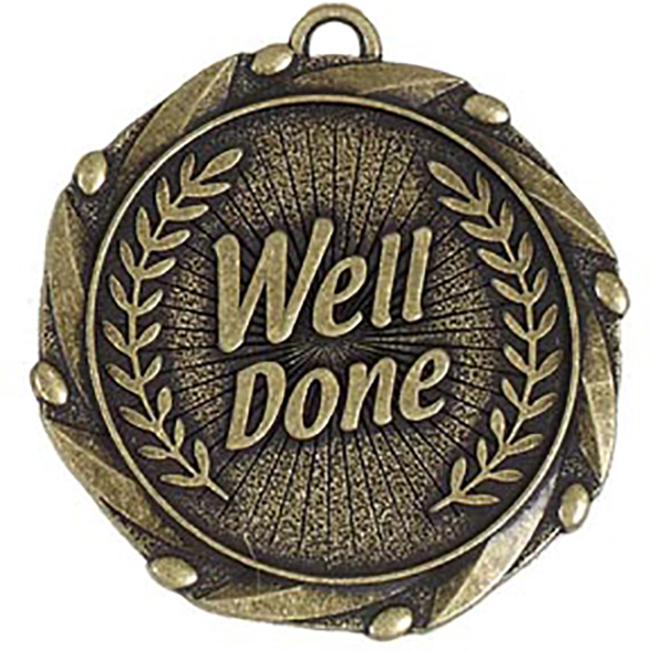 Gold Well Done Medal with Red, White & Blue Ribbon 45mm