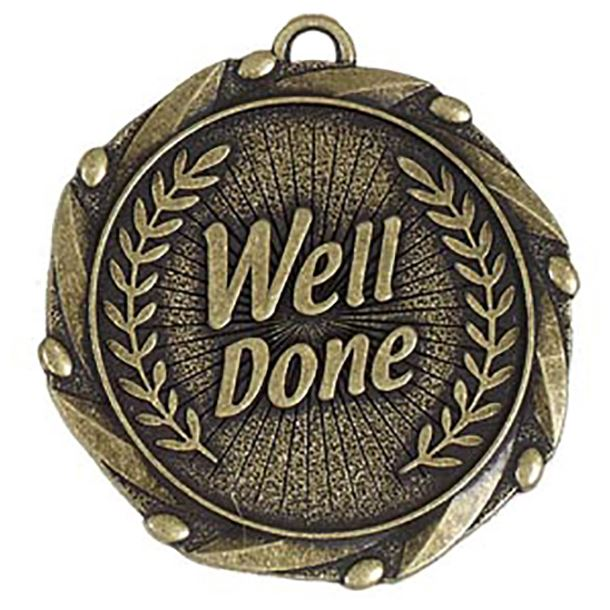 """Gold Well Done Medal with Red, White & Blue Ribbon 45mm (1.75"""")"""