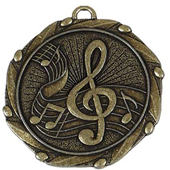 """Gold Music Medal with Red, White & Blue Ribbon 45mm (1.75"""")"""
