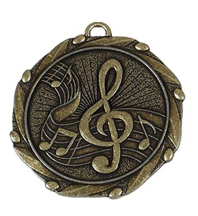 "Gold Music Medal with Red, White & Blue Ribbon 45mm (1.75"")"