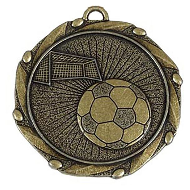 """Gold Football Medal with Red, White & Blue Ribbon 45mm (1.75"""")"""