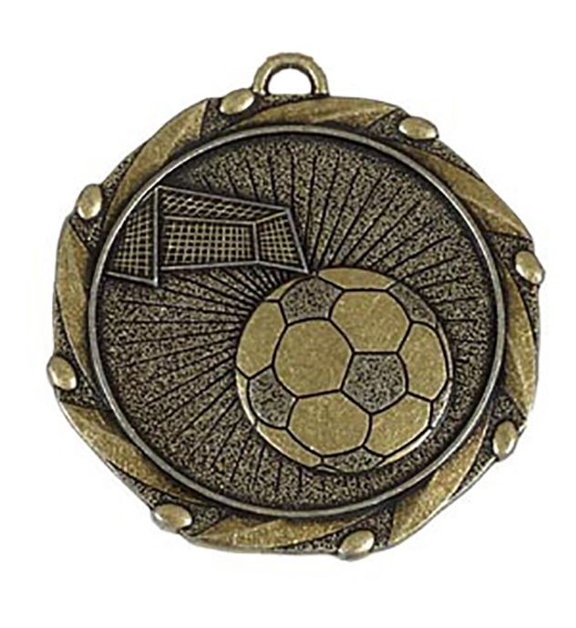 "Gold Football Medal with Red, White & Blue Ribbon 45mm (1.75"")"