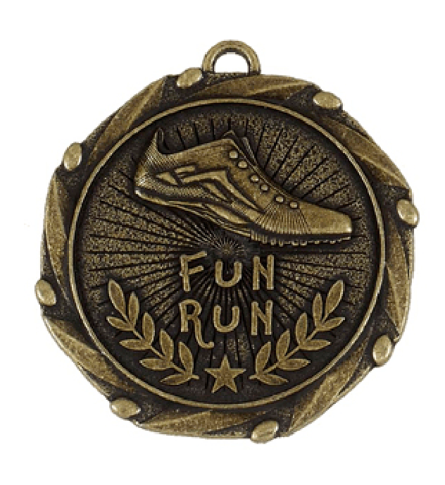 "Gold Fun Run Medal with Red, White & Blue Ribbon 45mm (1.75"")"