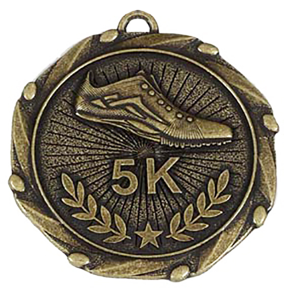 Gold 5k Run Medal with Red, White & Blue Ribbon 45mm