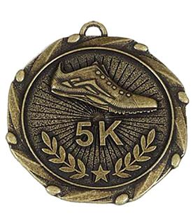 """Gold 5k Run Medal with Red, White & Blue Ribbon 45mm (1.75"""")"""