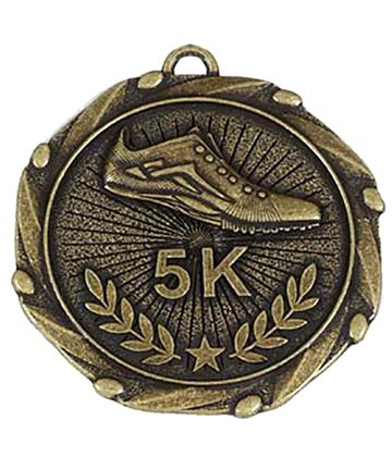 "Gold 5k Run Medal with Red, White & Blue Ribbon 45mm (1.75"")"