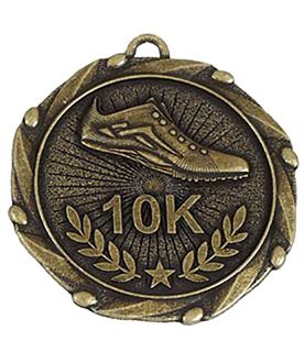 """Gold 10k Run Medal with Red, White & Blue Ribbon 45mm (1.75"""")"""