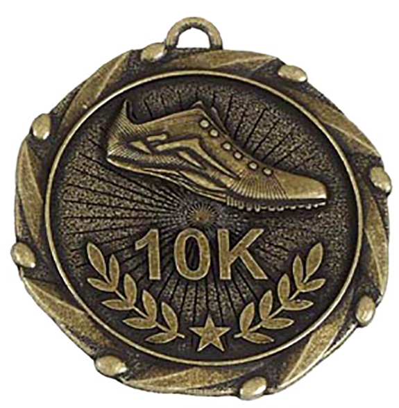 "Gold 10k Run Medal with Red, White & Blue Ribbon 45mm (1.75"")"