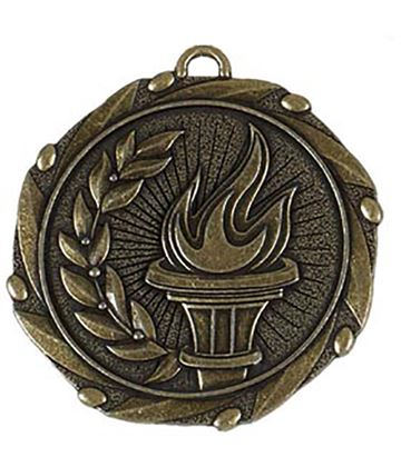"Gold Torch Medal with Red, White & Blue Ribbon 45mm (1.75"")"