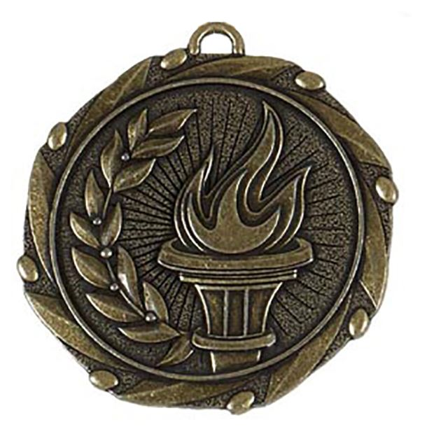 """Gold Torch Medal with Red, White & Blue Ribbon 45mm (1.75"""")"""