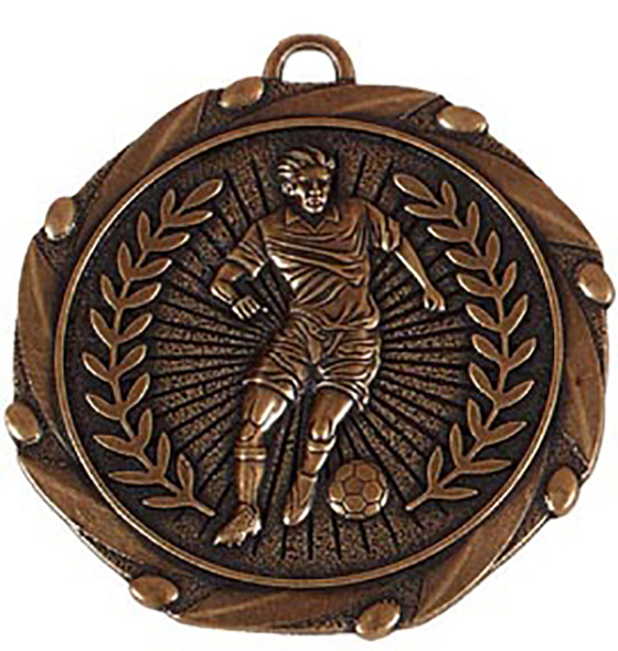 """Bronze Footballer Medal with Red, White & Blue Ribbon 45mm (1.75"""")"""