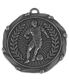 "Silver Footballer Medal with Red, White & Blue Ribbon 45mm (1.75"")"
