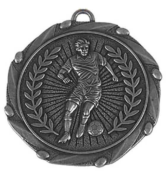 """Silver Footballer Medal with Red, White & Blue Ribbon 45mm (1.75"""")"""
