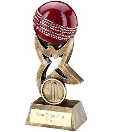 "Antique Gold and Red Cricket Ball on Star Riser Trophy 14cm (5.5"")"