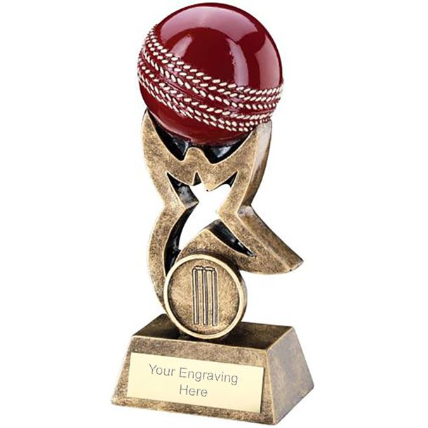 """Antique Gold and Red Cricket Ball on Star Riser Trophy 10cm (4"""")"""