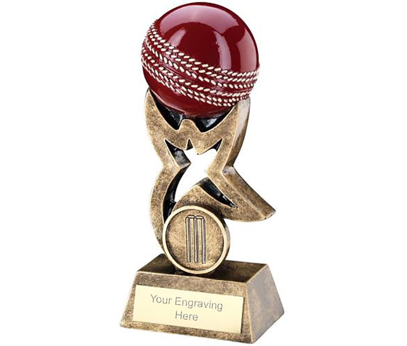 "Antique Gold and Red Cricket Ball on Star Riser Trophy 18cm (7"")"