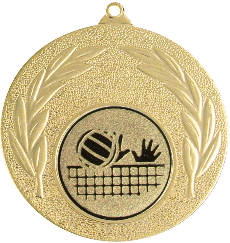 """Gold Leaf Medal with 1"""" Volleyball Centre Disc 50mm (2"""")"""