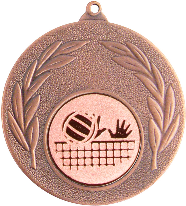 "Bronze Leaf Medal with 1"" Volleyball Centre Disc 50mm (2"")"