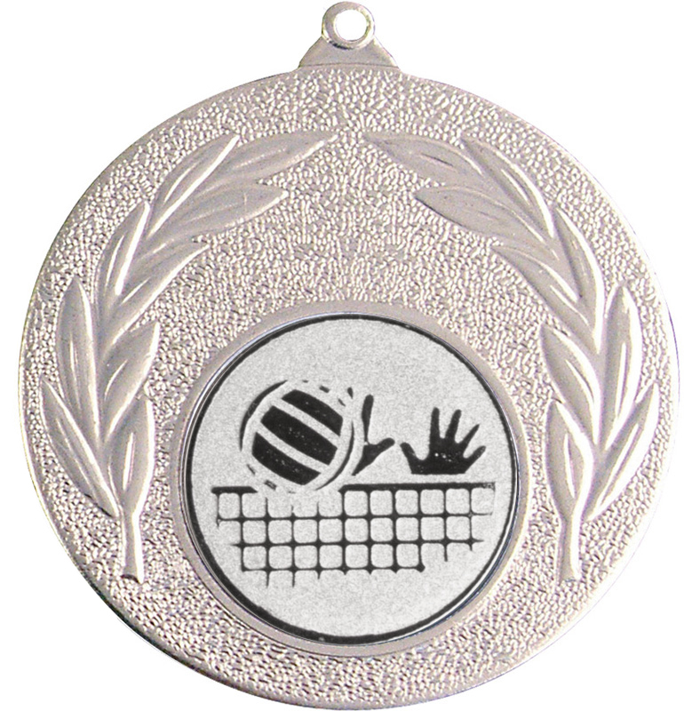 "Silver Leaf Medal with 1"" Volleyball Centre Disc 50mm (2"")"