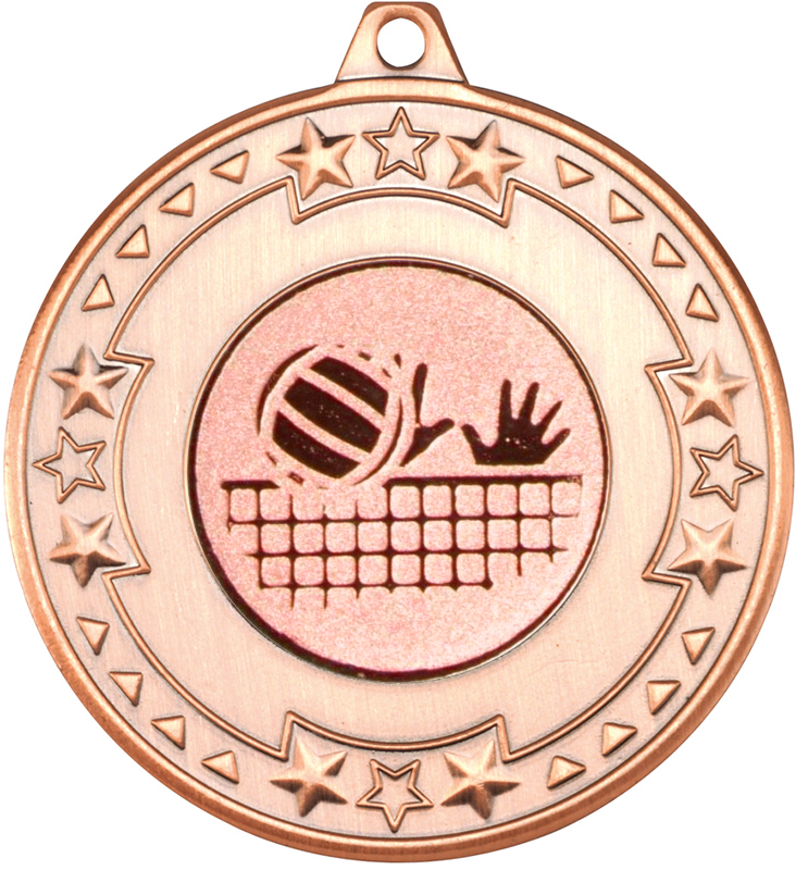 "Bronze Star & Pattern Medal with 1"" Volleyball Centre Disc 50mm (2"")"